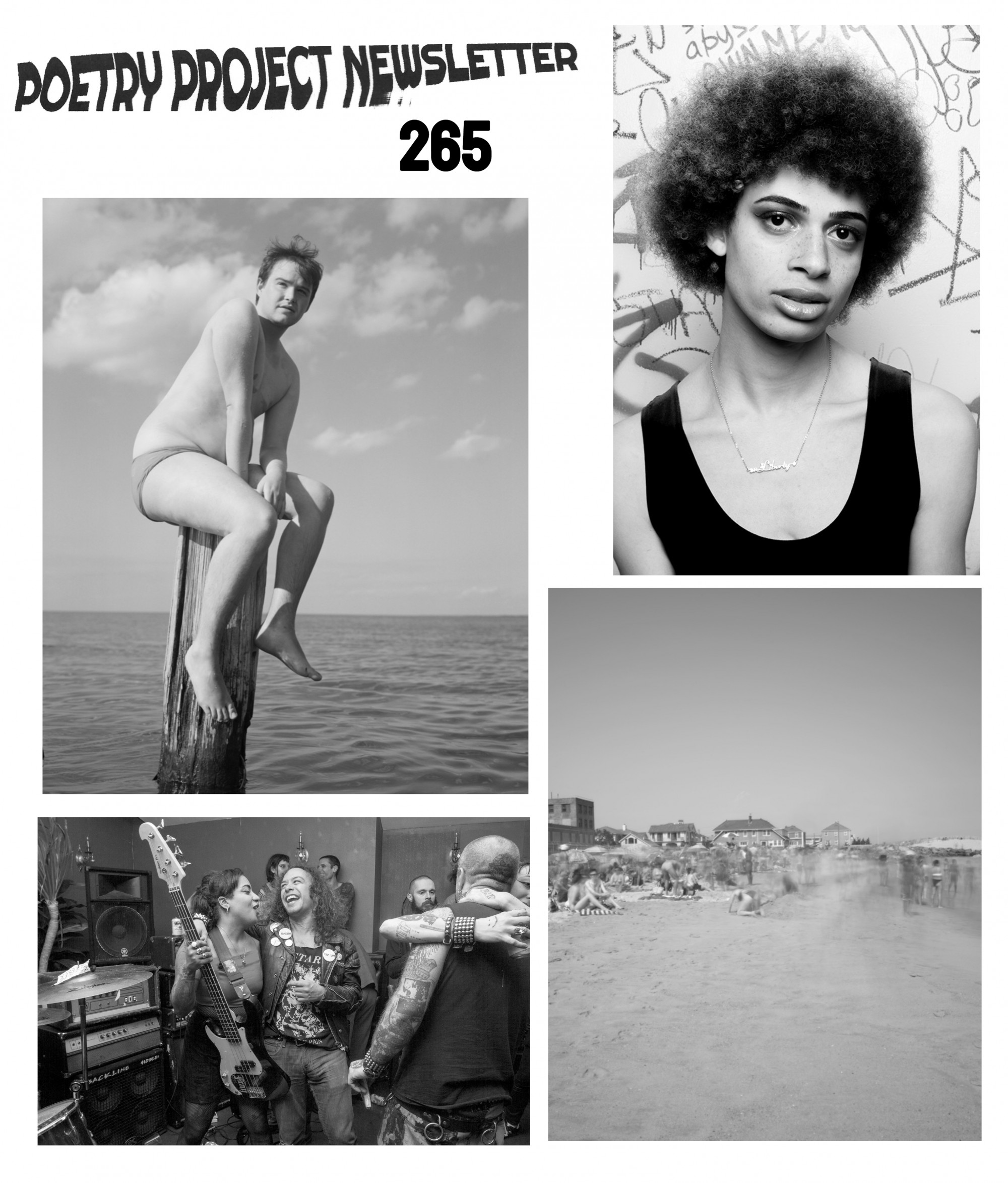 Photos by (clockwise from top left:) Chris Berntsen (photo of a person sitting on a pier pile in the water), Destiny Mata (portrait of a person wearing a black tank top), Chris Berntsen (landscape photo of a beach), Destiny Mata (a group of friends gathered and embracing, one holding a bass guitar)